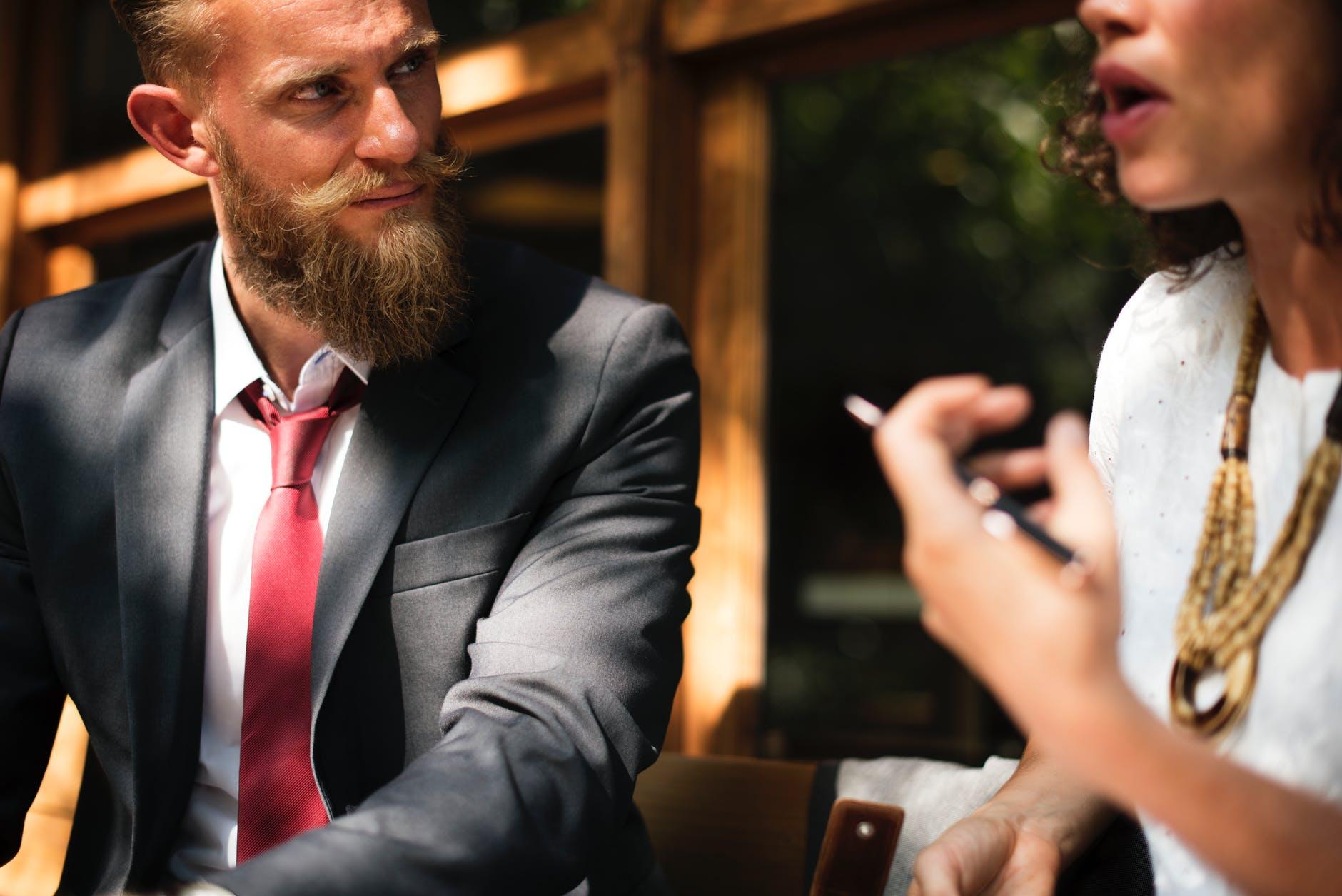 blur business close up conversation
